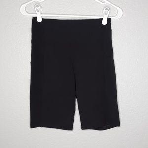 Athleta Black Stretch Biker Shorts with Pockets